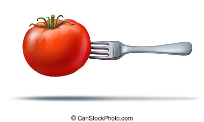 Healthy eating with a juicy red tomato and fork