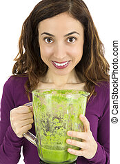 Healthy eating woman showing green smoothie