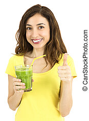 Healthy eating woman with green smoothie glass thumbsup