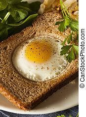 Healthy Egg in a Basket for Breakfast