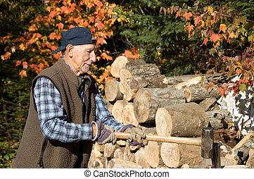 healthy elderly man lumberjack