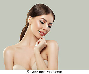 Healthy face young smiling woman
