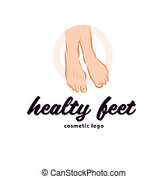 Healthy feet logo design with pair of bare human feet arranged together