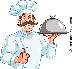 Healthy Fit Muscly Chef Serving Food