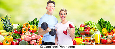 Healthy fitness couple. Health care and diet background.