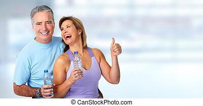 Healthy fitness elderly couple.
