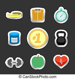 Healthy fitness lifestyle stickers