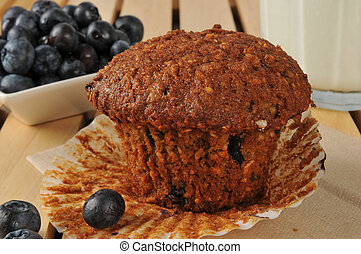 Healthy bran muffin with flax seed and wild blueberries