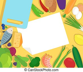 Healthy food and blank paper template
