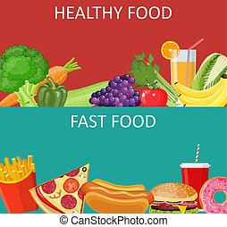 healthy food and fast food concept banner. Vector...