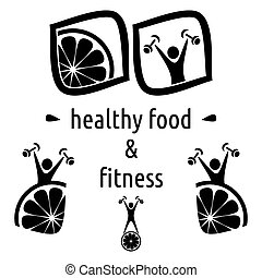 Healthy food and fitness symbols