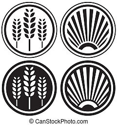 Healthy food and agriculture symbols, button elements, or design icons