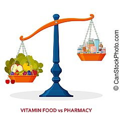 Healthy food and medicines on balanced scale. Healthy lifestyle concept