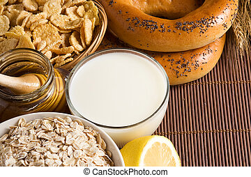 healthy food and milk