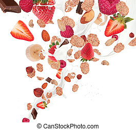 Healthy food and milk with flying cereals and fruit, ...