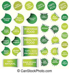 Healthy food and natural product stickers and labels collection