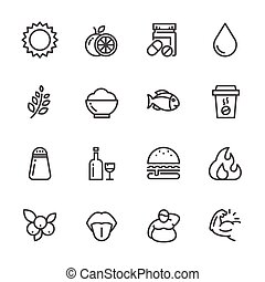 Healthy food and nutrition icons set. Vector line icons