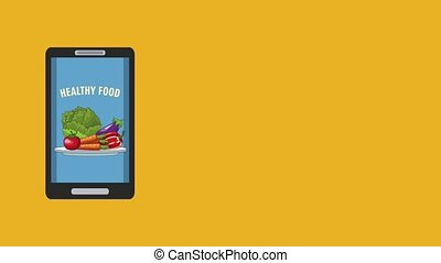 Healthy food and smartphone HD animation - Healthy food...