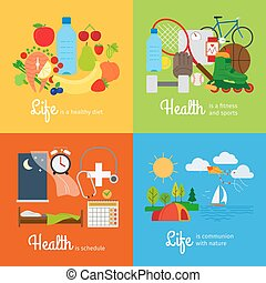 Healthy food and sports activity, healthy schedule and outdoor exercises. Healthy lifestyle elements. Vector illustration