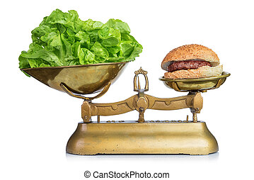 Healthy food and unhealthy food on scales.Dieting...