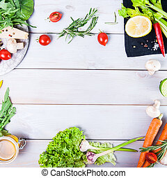 Healthy food background. Different vegetables on white wooden table. Picnic concept., space for text. Selective focus, flatlay