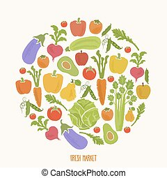 Healthy food background of fresh vegetable, vector