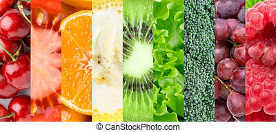 Healthy food background. ?ollection with different fruits, ...