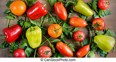 vegetables on old wooden table