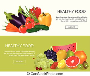 Healthy Food  Banners Set