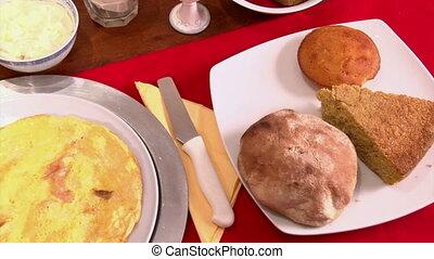 Healthy food, breakfast, pan left