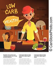 Healthy food, cartoon woman cooking in the modern kitchen....