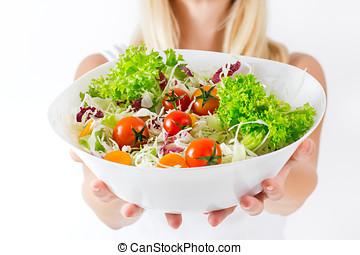 healthy food - Closeup of fresh salad in a bowl.Healthy...