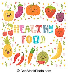 Healthy food concept card. Cute happy fruits and vegetables in vector