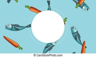Blank round frame over carrots and fishes falling background high definition animation colorful scenes