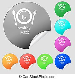 healthy food concept icon sign. Set of eight multi colored round buttons, stickers. Vector