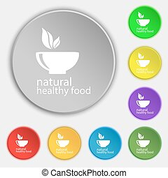 healthy food concept icon sign. Symbol on eight flat buttons. Vector