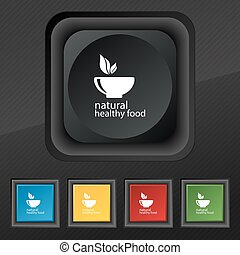 healthy food concept icon symbol. Set of five colorful, stylish buttons on black texture for your design. Vector