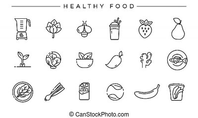 Healthy Food concept line style icons set. - Set of Healthy ...