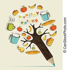 Healthy food concept pencil tree - Healthy food eating...