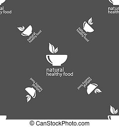 healthy food concept sign. Seamless pattern on a gray background. Vector