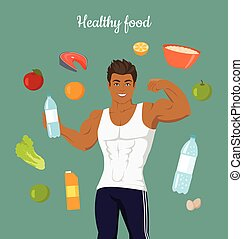 Healthy Food Concept. Sportive Man After Diet.