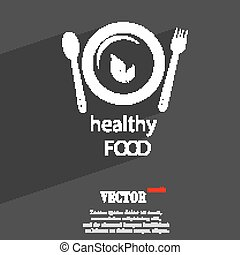 healthy food concept symbol Flat modern web design with long shadow and space for your text. Vector
