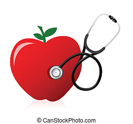healthy food concept with a Stethoscope