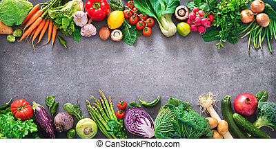 Healthy food concept with fresh vegetables and ingredients for cooking