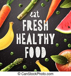 Healthy food concept with sample text, eat fresh healthy...