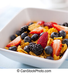 Healthy Food - Corn Flakes with Fruits and Barriers. Photo.