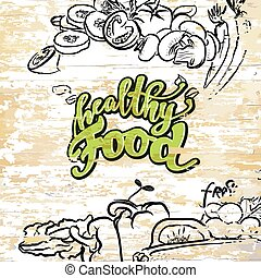 Healthy food drawing on wooden background
