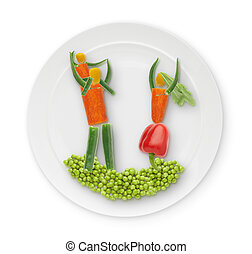 healthy food - edible figure lying on a plate
