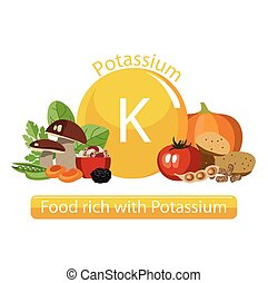 healthy food - Products rich with potassium. Bases of...