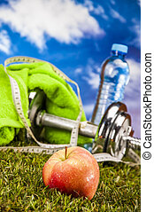 Healthy food, fitness theme